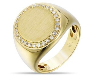 Luvente Gold and Diamond Signet Ring LV65