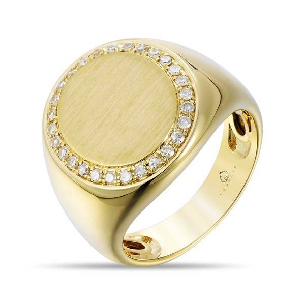 Luvente Gold and Diamond Signet Ring