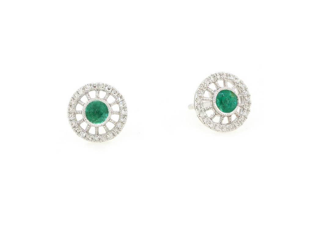 Luvente Emerald and Diamond Stud Earrings