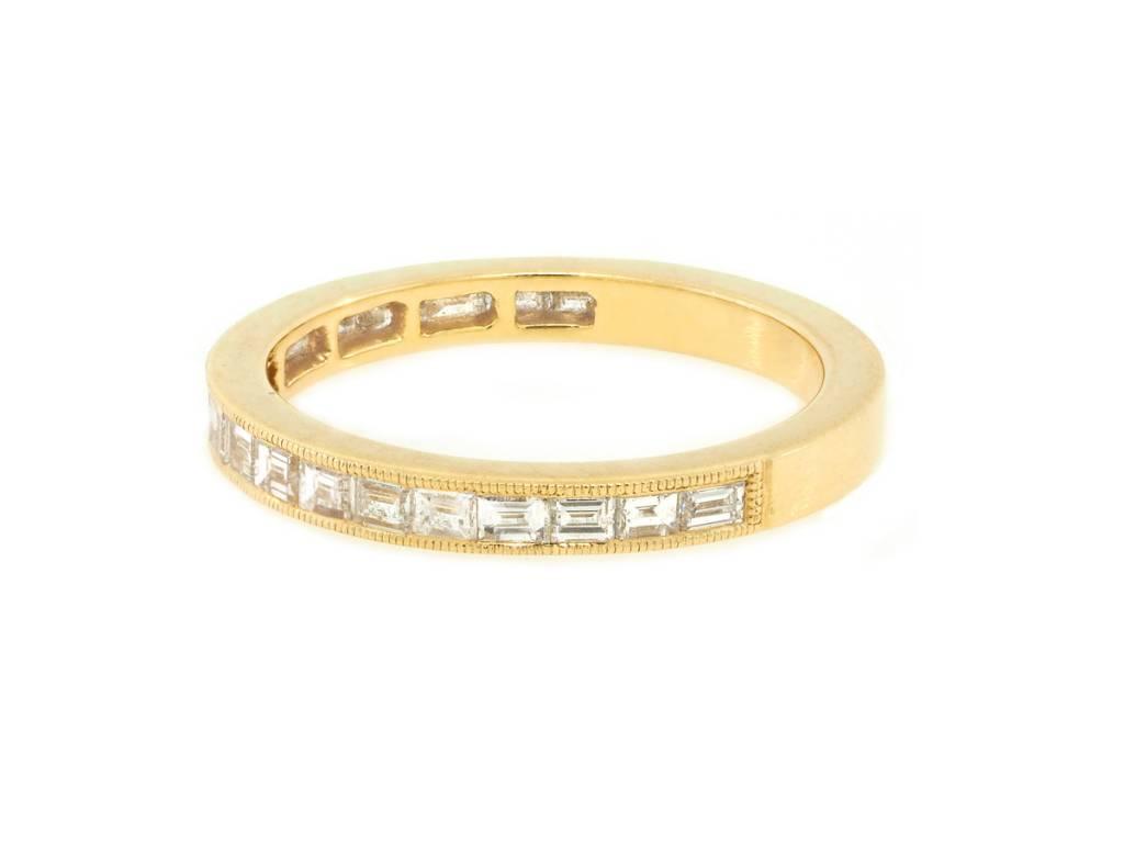 Beverley K Collection Channel Set Baguette Half Eternity Ring