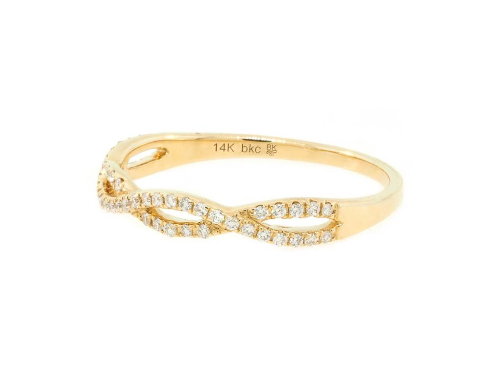 Beverley K Collection Diamond Twist Gold Half Eternity Band