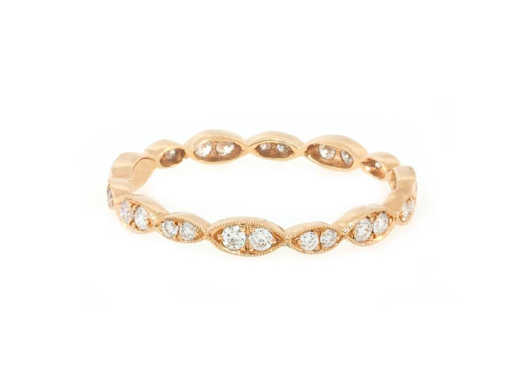 Beverley K Collection Marquise Pattered Pave Diamond Band AB462