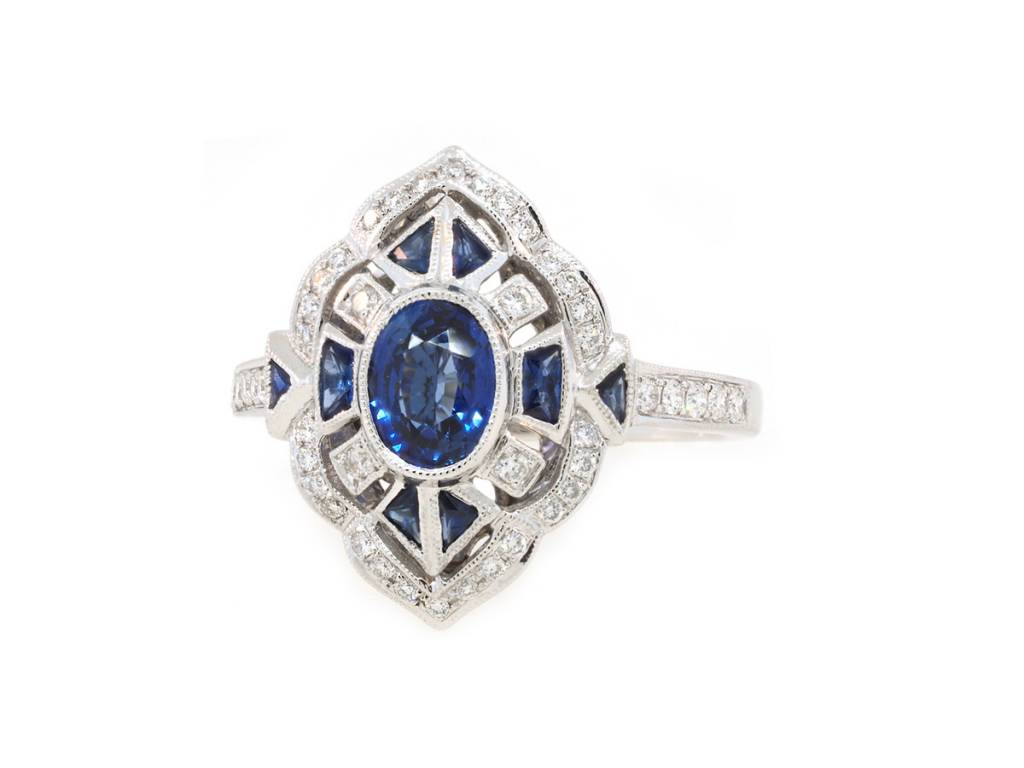 Beverley K Collection Vintage Inspired Sapphire and Diamond Ring