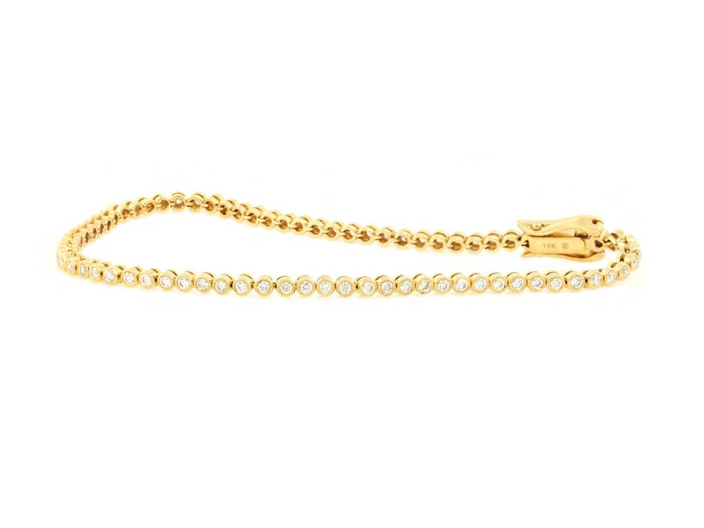 Beverley K Collection Bezel Diamond Gold Tennis Bracelet