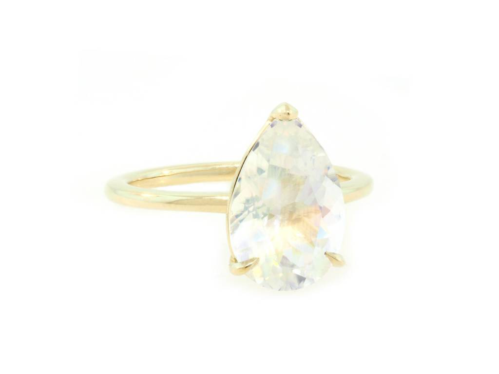 Trabert Goldsmiths 3ct Pear Rainbow Moonstone Aura Ring