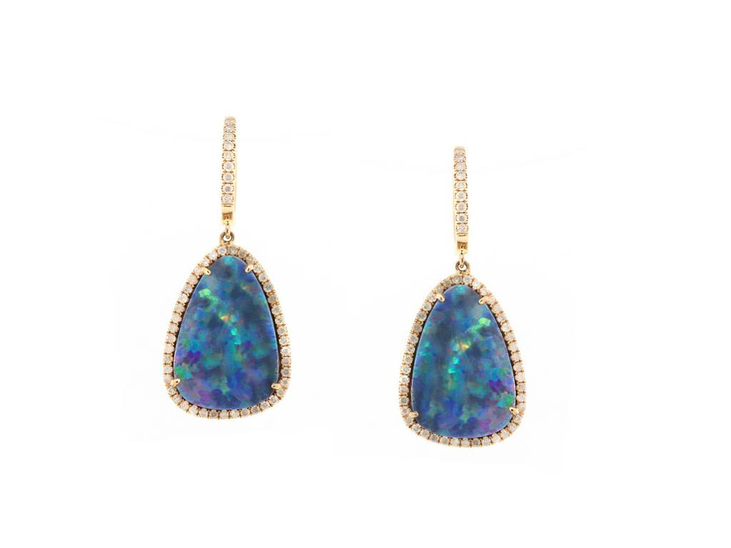 Trabert Goldsmiths Asymmetrical Opal and Diamond Earrings