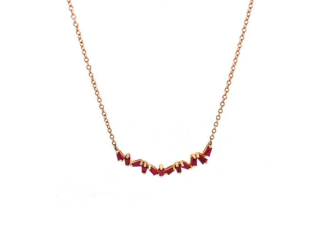 Trabert Goldsmiths Baguette Ruby Bar Necklace