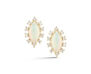 Dana Rebecca Opal and Diamond Marquise Stud Earrings DR4