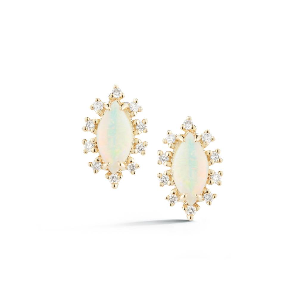 Opal and Diamond Marquise Stud Earrings DR4