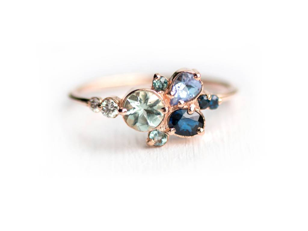 Melanie Casey Clear Water Blue Cluster Rose Gold Ring
