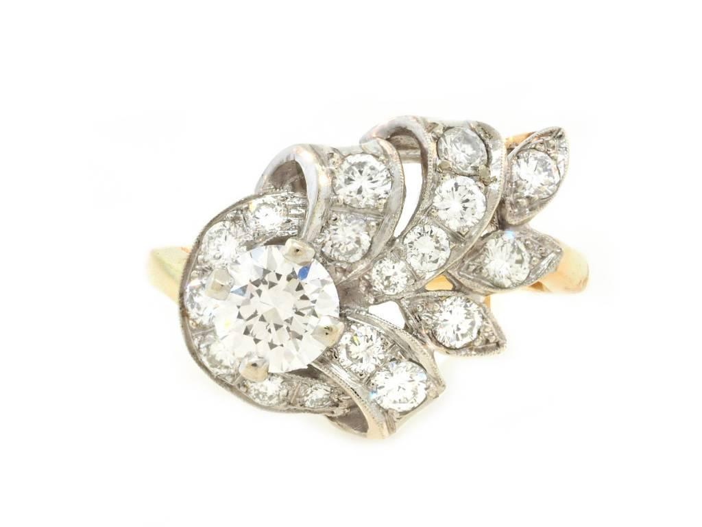 Trabert Goldsmiths Vintage Diamond Leaf Cocktail Ring
