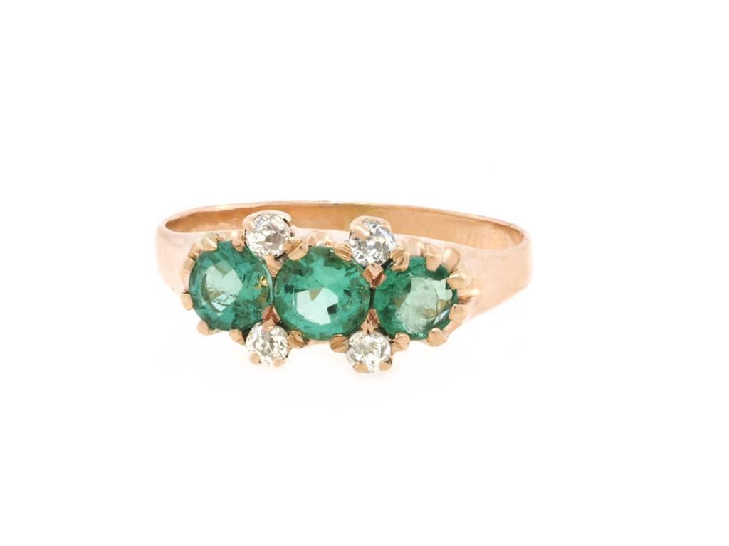Trabert Goldsmiths Victorian 3 Stone Emerald and Dia Ring
