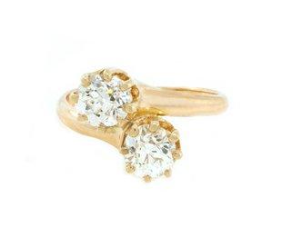 Trabert Goldsmiths Victorian Diamond Toi et Moi Ring E1685