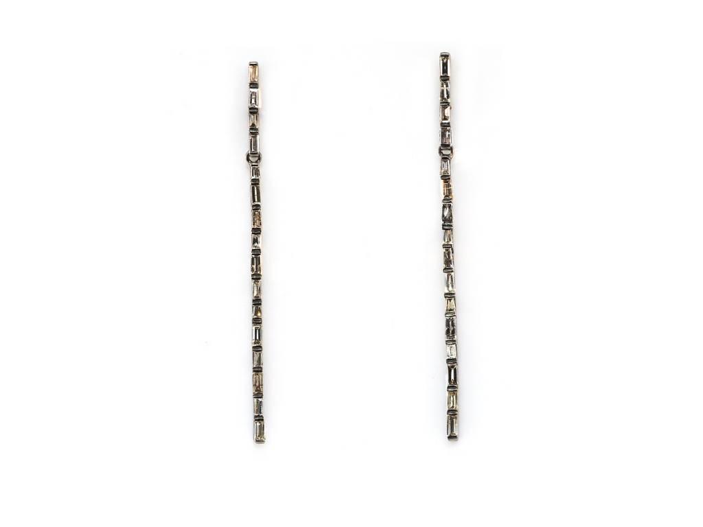 Trabert Goldsmiths Baguette Diamond Stick Earrings