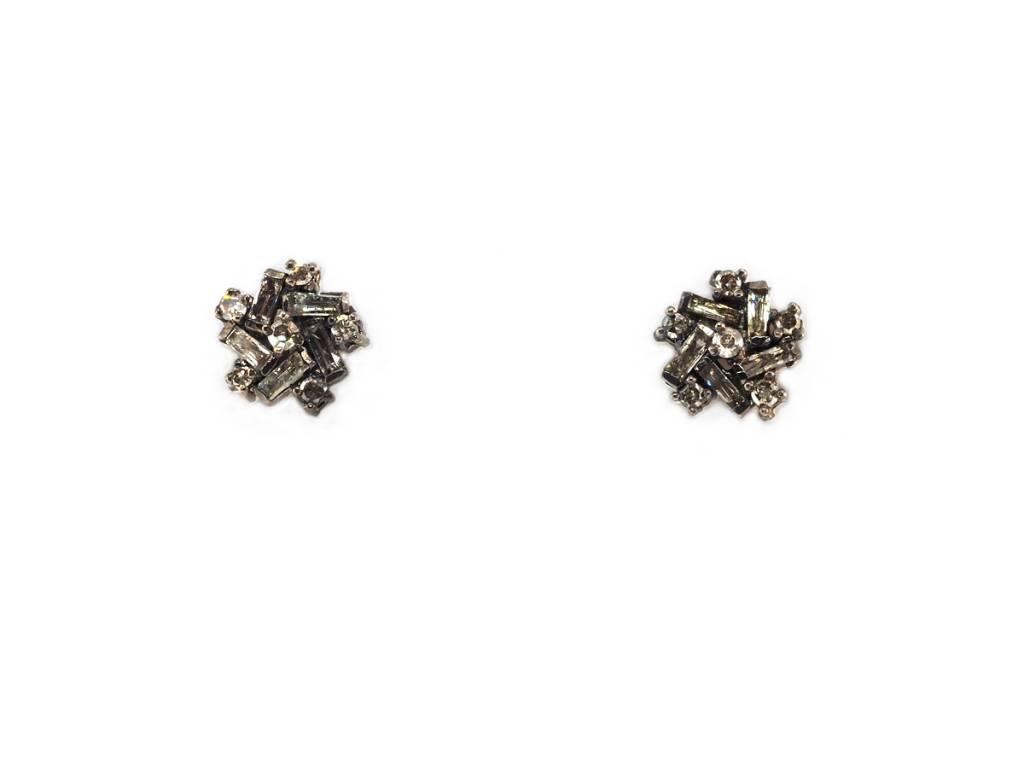 Trabert Goldsmiths Oxidized Mixed Baguette Dia Earrings
