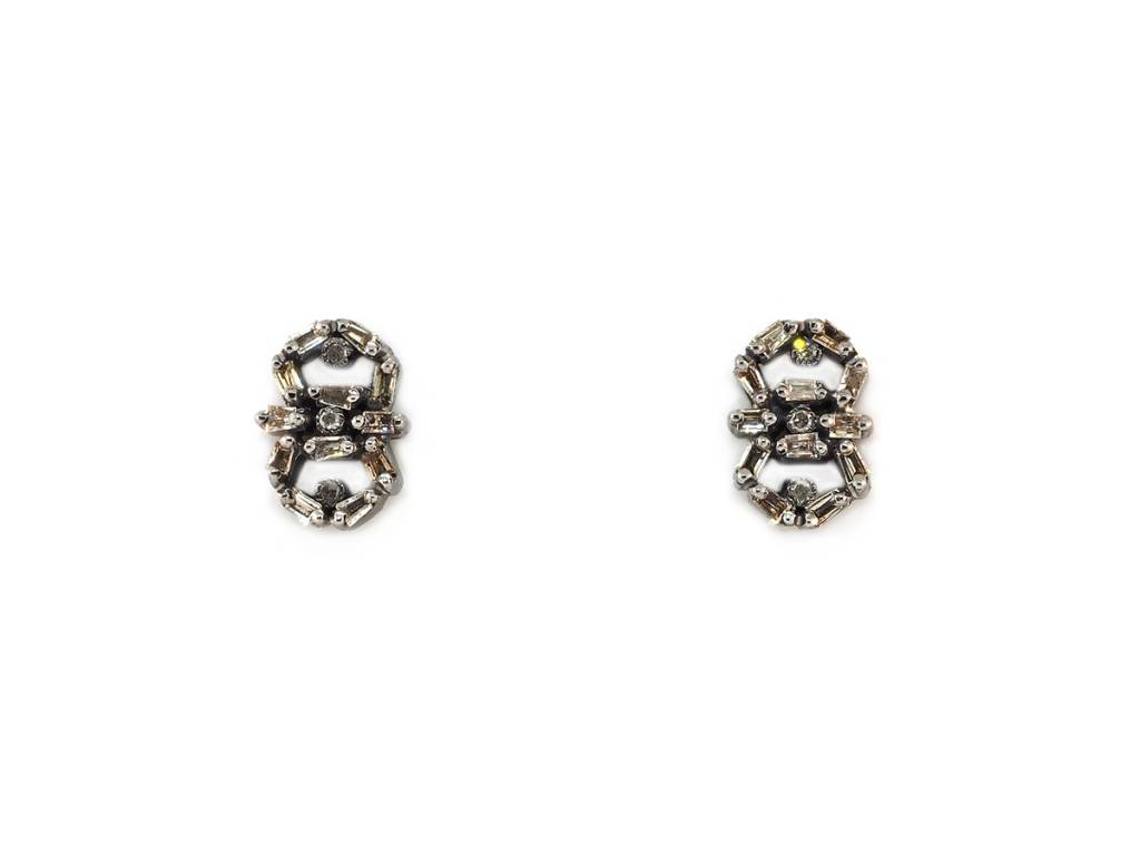 Trabert Goldsmiths Oxidized Baguette Dia Stud Earrings