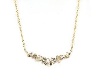 Trabert Goldsmiths Large Baguette Dia Gold Bib Necklace E1692