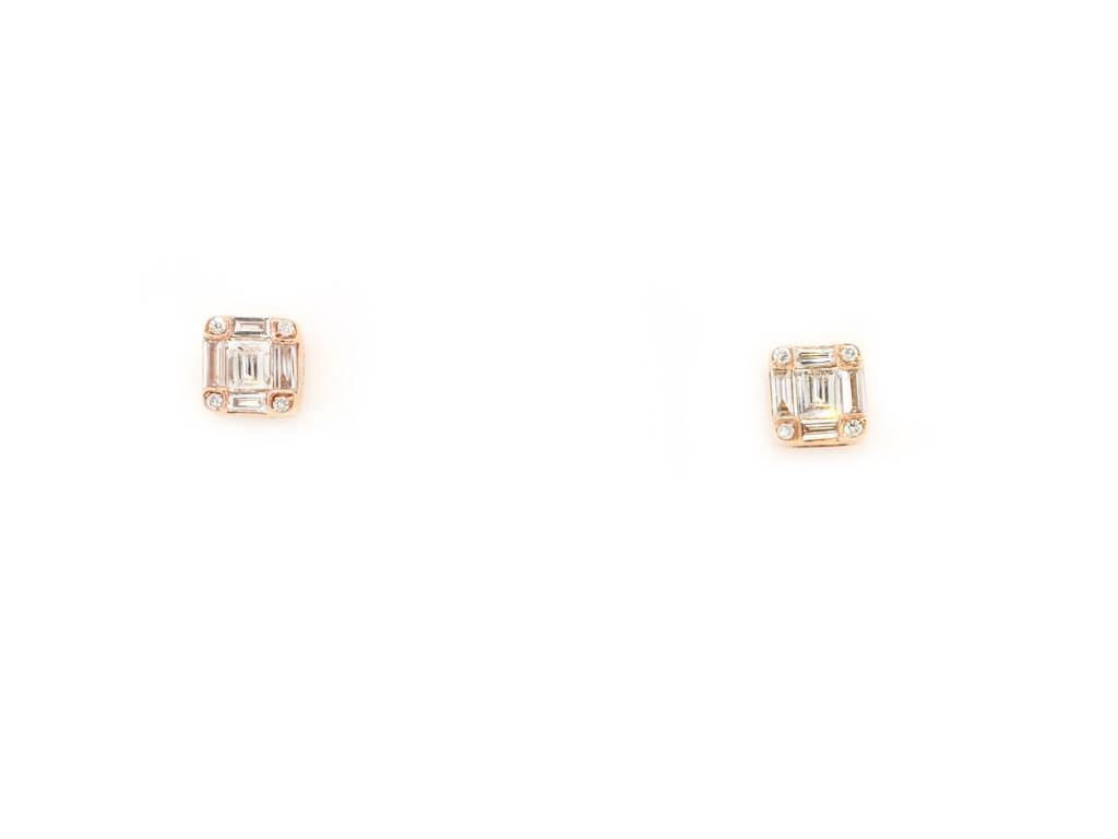 Trabert Goldsmiths Baguette Diamond Stud Earrings