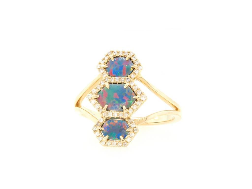 Trabert Goldsmiths Triple Hexagonal Opal and Dia Ring