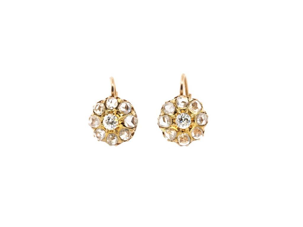 Trabert Goldsmiths Antique Diamond Cluster Earrings