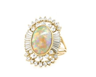 Trabert Goldsmiths Vintage Opal and Baguette Dia Ring E1712
