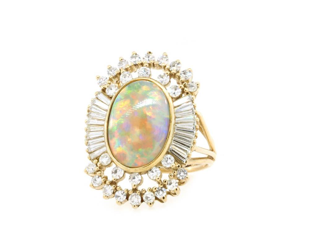 Trabert Goldsmiths Vintage Opal and Baguette Dia Ring