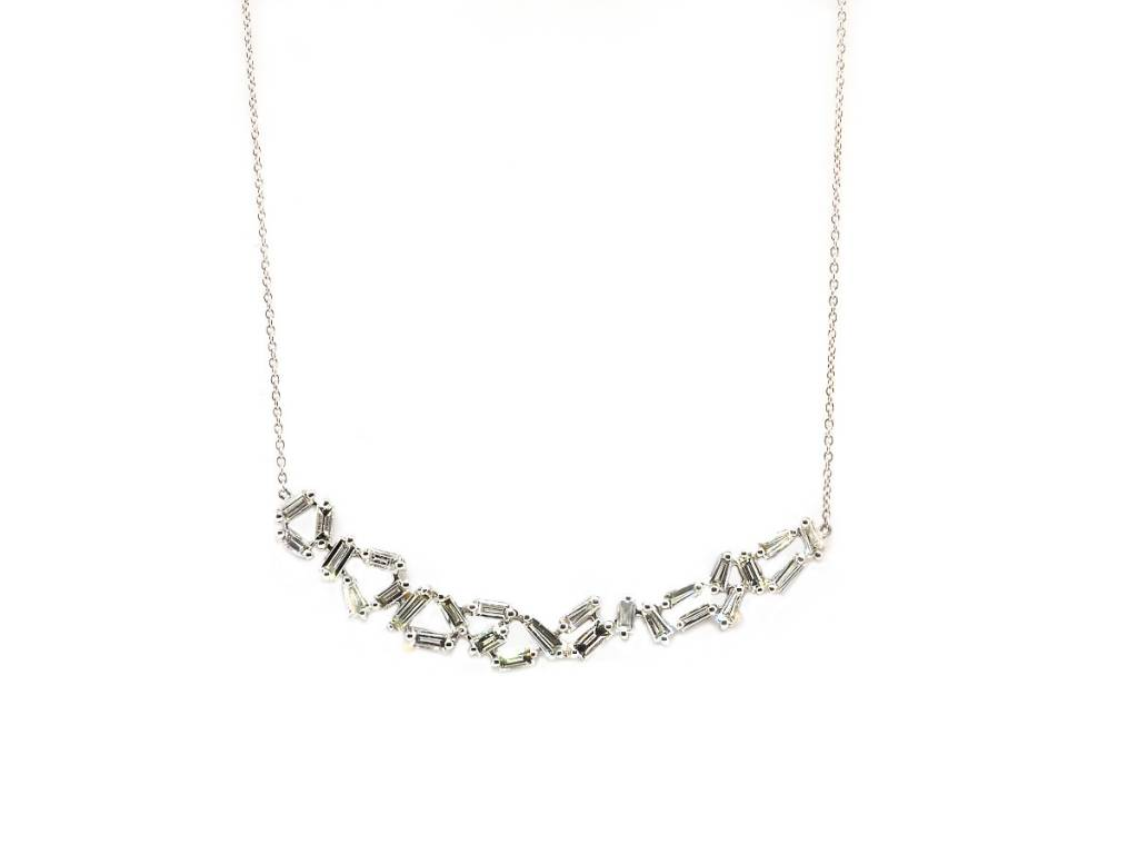 Trabert Goldsmiths 1.55ct Baguette Dia Bib White Gold Necklace