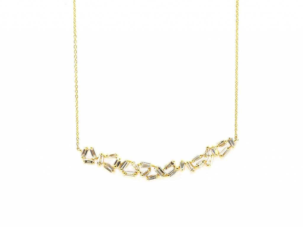 Trabert Goldsmiths 1.55ct Baguette Dia Gold Bib Necklace