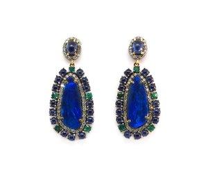 Trabert Goldsmiths Opal and Sapphire Statement Earrings E1716