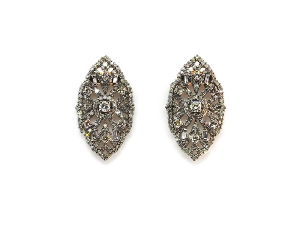 Trabert Goldsmiths Deco Style Navette Diamond Earrings