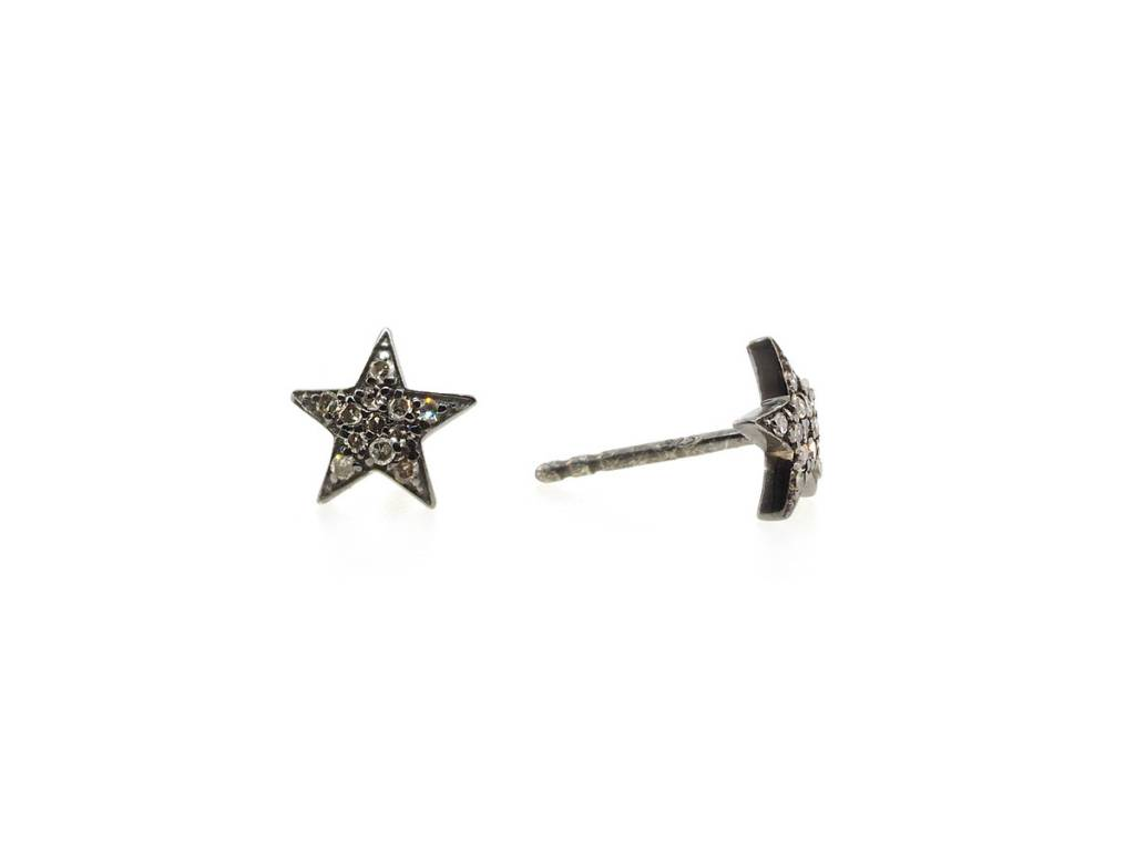 Trabert Goldsmiths Oxidized Diamond Star Stud Earrings