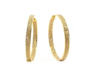 Trabert Goldsmiths Champagne Diamond Gold Hoop Earrings E1719