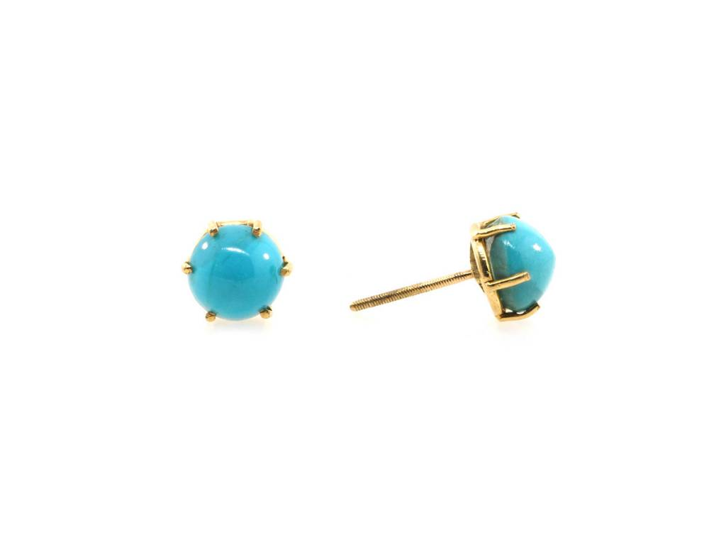 Trabert Goldsmiths Antique Turquoise Stud Earrings