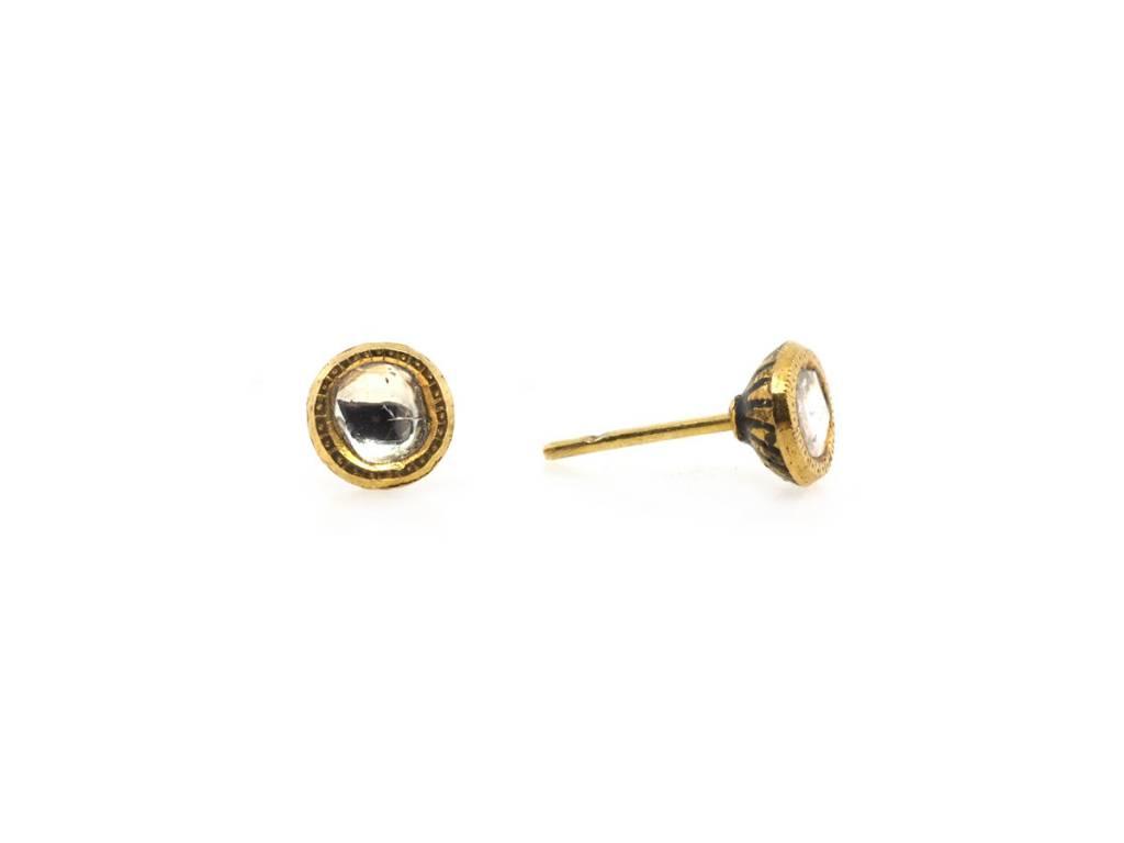 Trabert Goldsmiths Antique Rosecut Diamond Stud Earrings