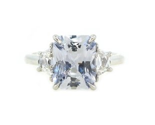 Trabert Goldsmiths 3.26ct Radiant Cut Pale Blue Sapphire Ring E1725