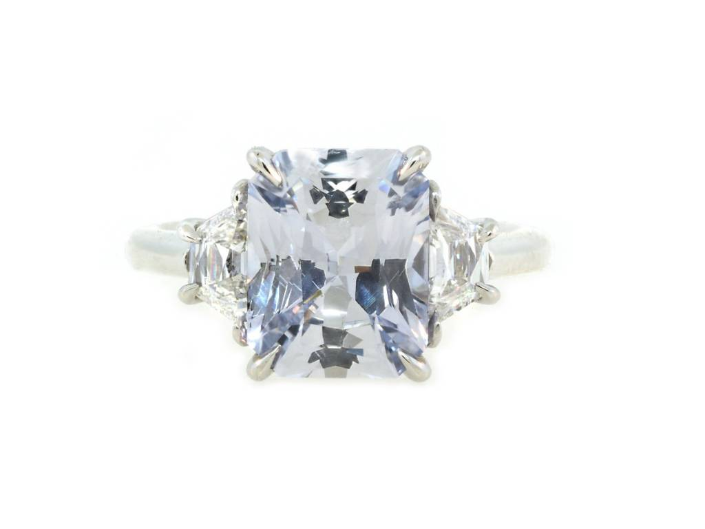 Trabert Goldsmiths 3.26ct Radiant Cut Pale Blue Sapphire Ring
