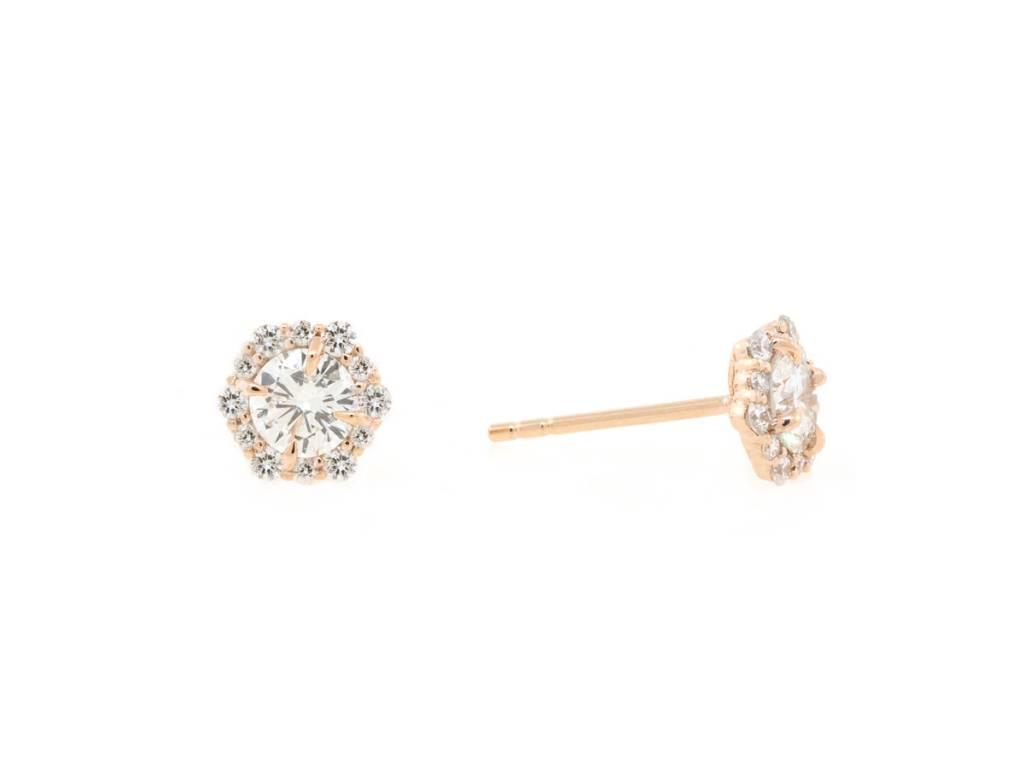 Trabert Goldsmiths .060ct Floral Diamond Cluster Earrings