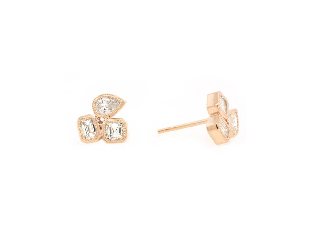 Trabert Goldsmiths 0.90ct Mixed Shape Dia Stud Rose Gold Earrings