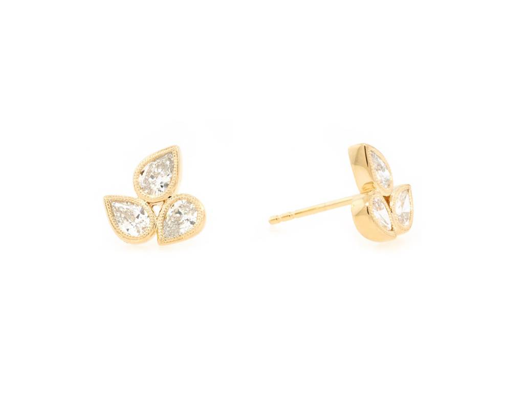 Trabert Goldsmiths 0 89ct Mixed Dia Stud Gold Earrings
