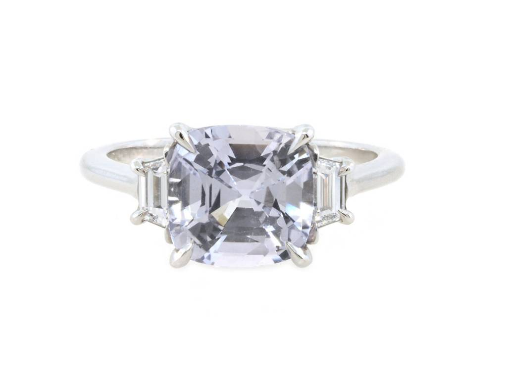Trabert Goldsmiths 3.12ct Cushion Pale Blue Sapphire Ring