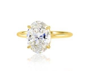 Trabert Goldsmiths 3.01ct ESI2 Oval Diamond Aura Ring E1653