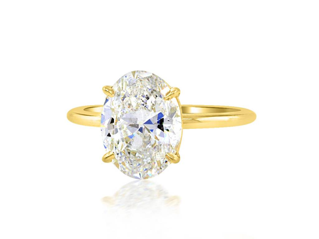 Trabert Goldsmiths 3.01ct ESI2 Oval Diamond Aura Ring