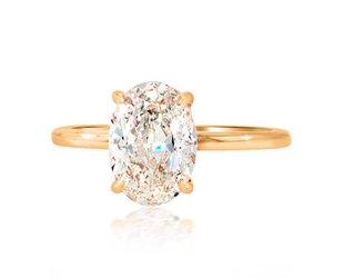 Trabert Goldsmiths 2.02ct FSI1 Oval Diamond Aura Ring E1654