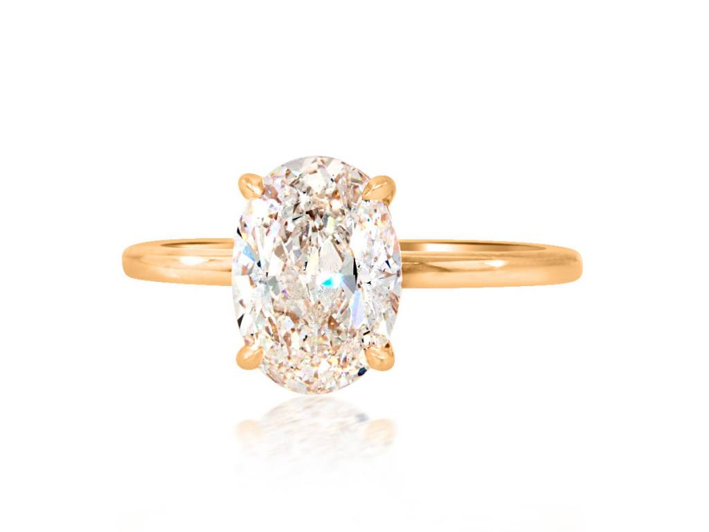 Trabert Goldsmiths 2.02ct FSI1 Oval Diamond Aura Ring