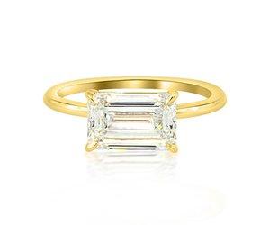 Trabert Goldsmiths 2.02ct IVS2 Emerald Cut Dia Aura Ring E1658