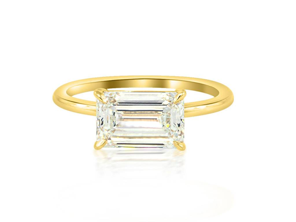 Trabert Goldsmiths 2.02ct IVS2 Emerald Cut Dia Aura Ring