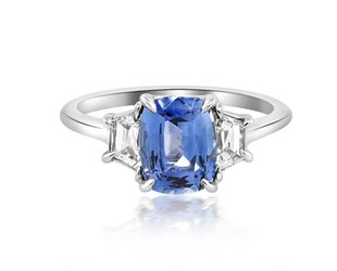 Trabert Goldsmiths 3 Stone 1.73ct Sapphire and Dia Ring E1660