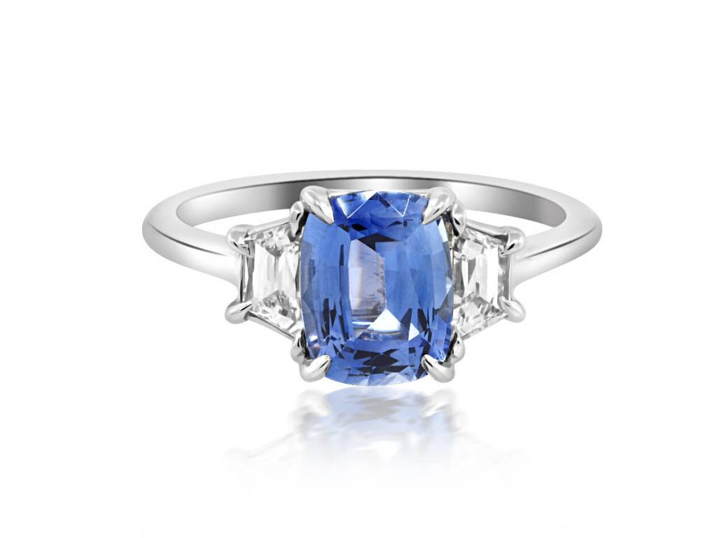 Trabert Goldsmiths 3 Stone 1.73ct Sapphire and Diamond Ring