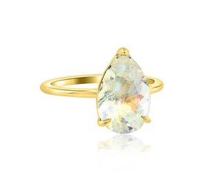 Trabert Goldsmiths 3ct Pear Rainbow Moonstone Aura Ring E1661