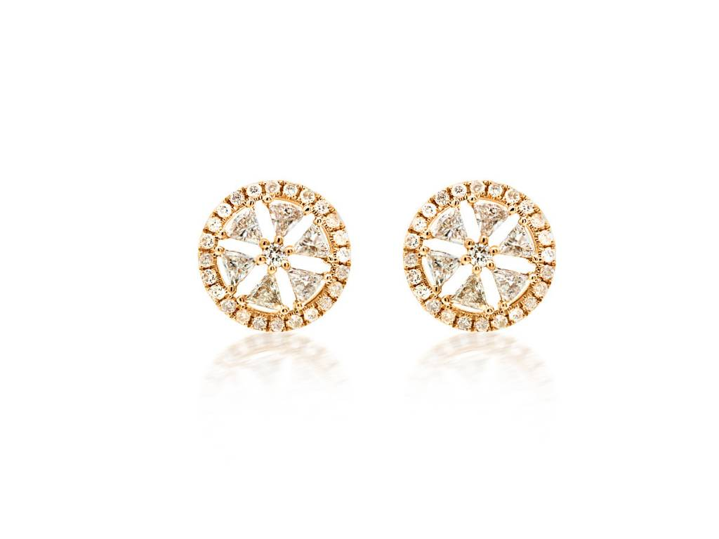 Trabert Goldsmiths Geometric Round Diamond Stud Earrings